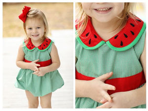 Watermelon Collar Green Gingham Bubble