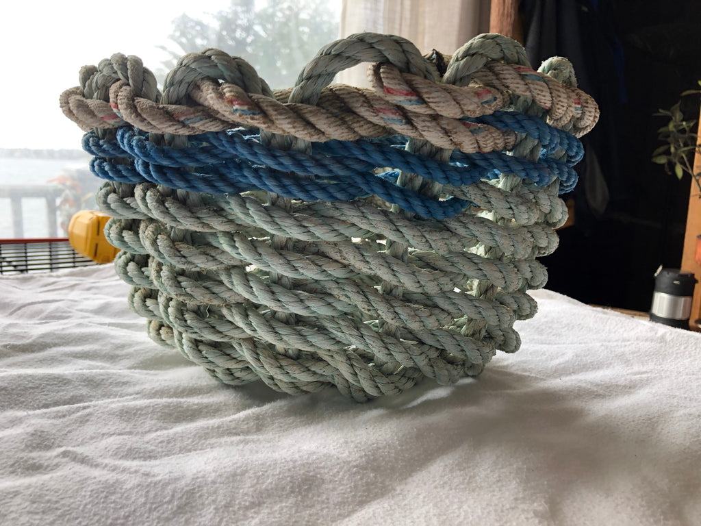 Custom Aqua with Blue and White Accent Basket