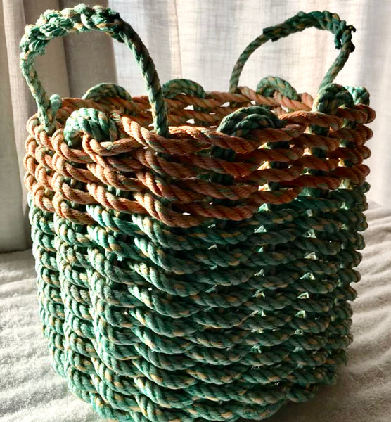 Muted Green and Orange Basket with Handles
