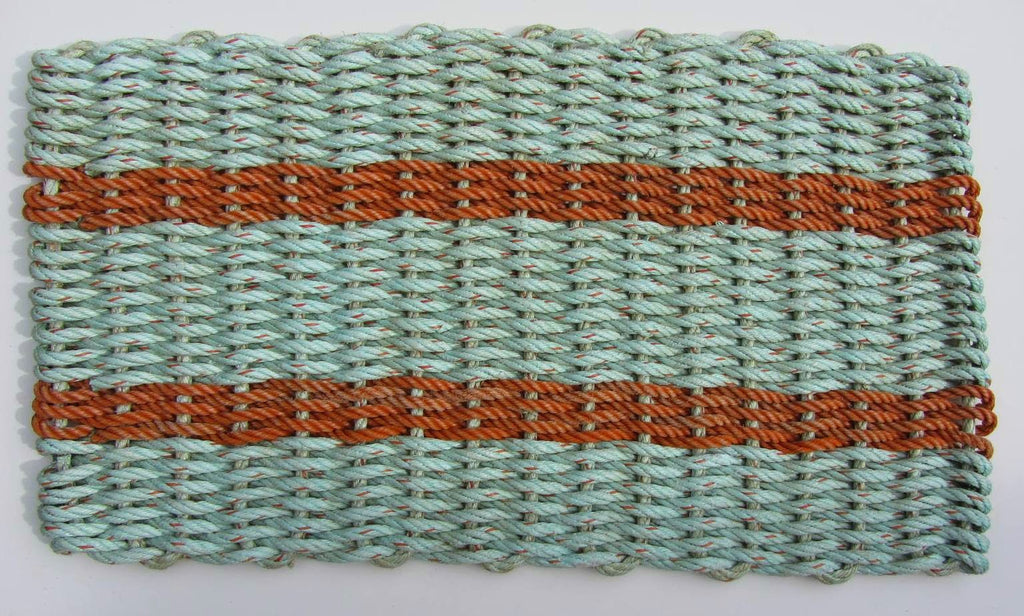 Aqua with Orange Stripes