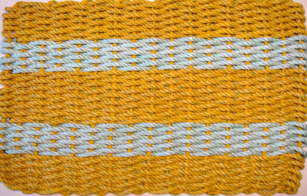 Yellow wth Aqua Stripes