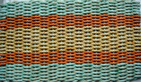 Aqua with Orange and Yellow Stripes