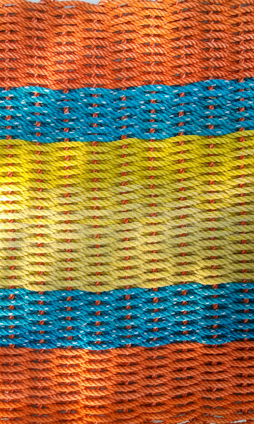 Orange with Blue and Yellow Stripes Runner