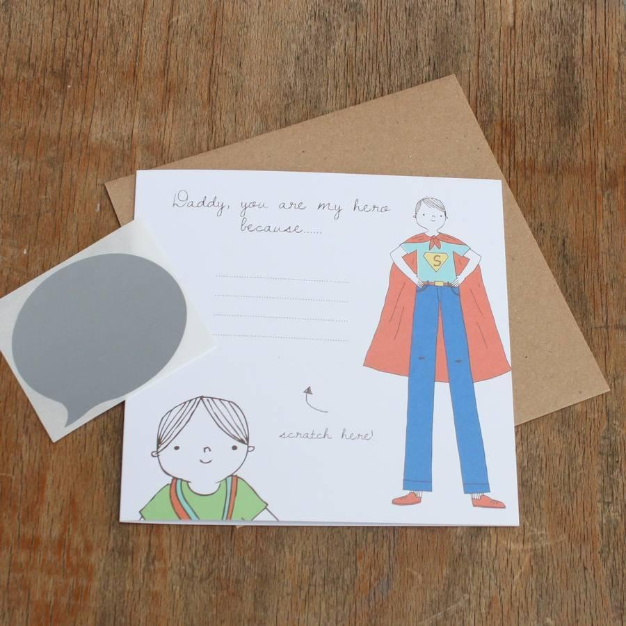 Lou Brown Designs card 'Daddy, You Are My Hero' Scratch Off Birthday Card