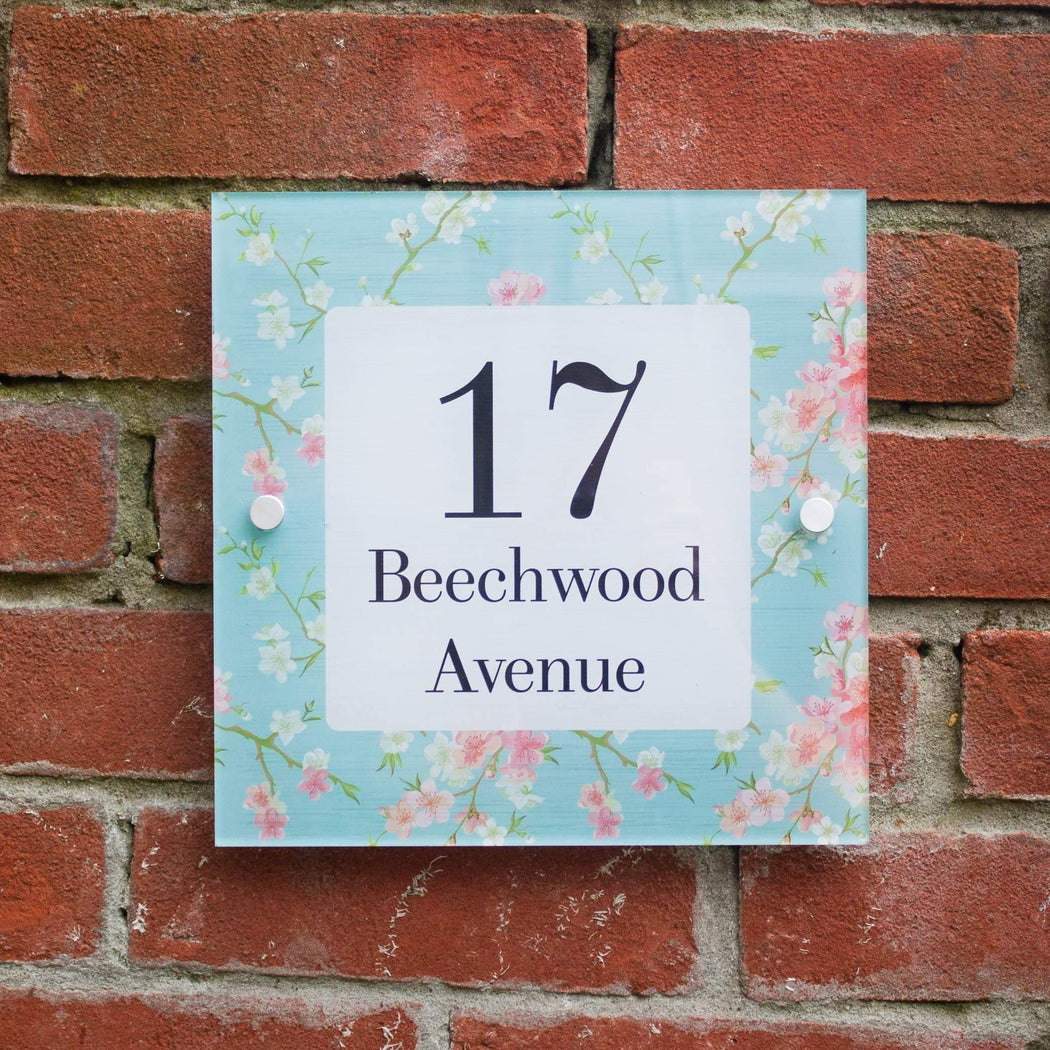 Abodian Signs House Signs Floral Cherry Blossom Acrylic House Number