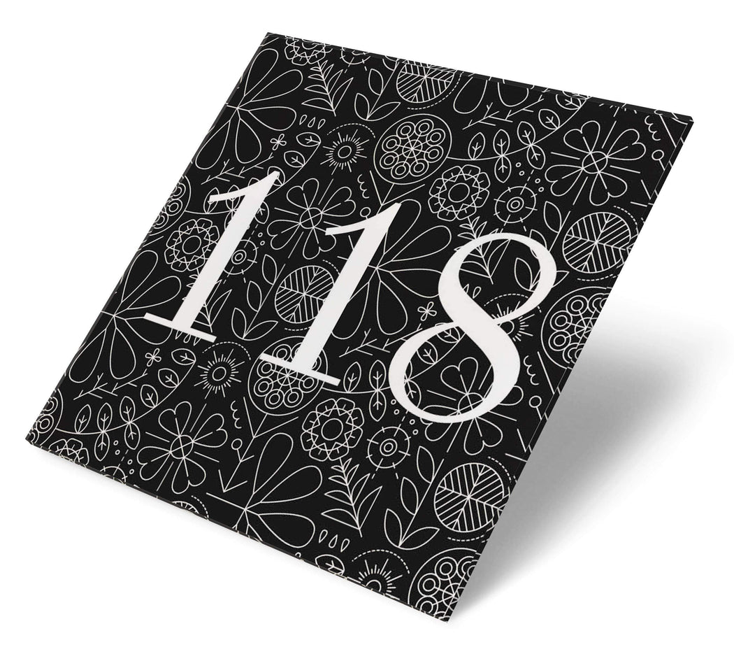 Abodian Signs House Signs Folk Art Meadow Lines Black Acrylic House Number