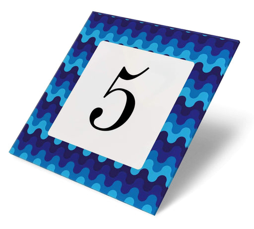 Abodian Signs House Signs Retro Wave Blue Acrylic House Number