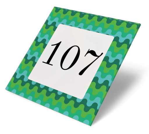 Abodian Signs House Signs Retro Wave Green Acrylic House Number