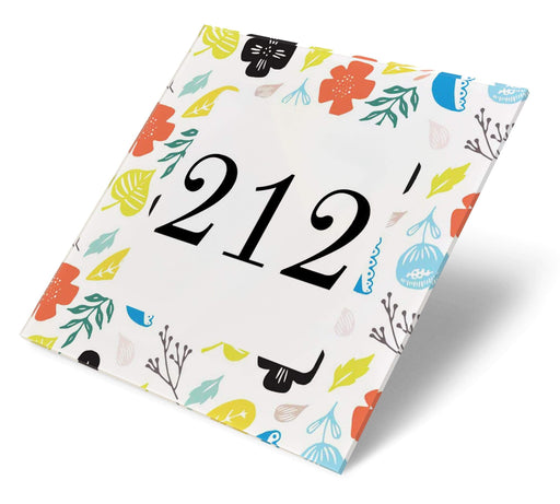 Abodian Signs House Signs Scandi Big Floral Acrylic House Number
