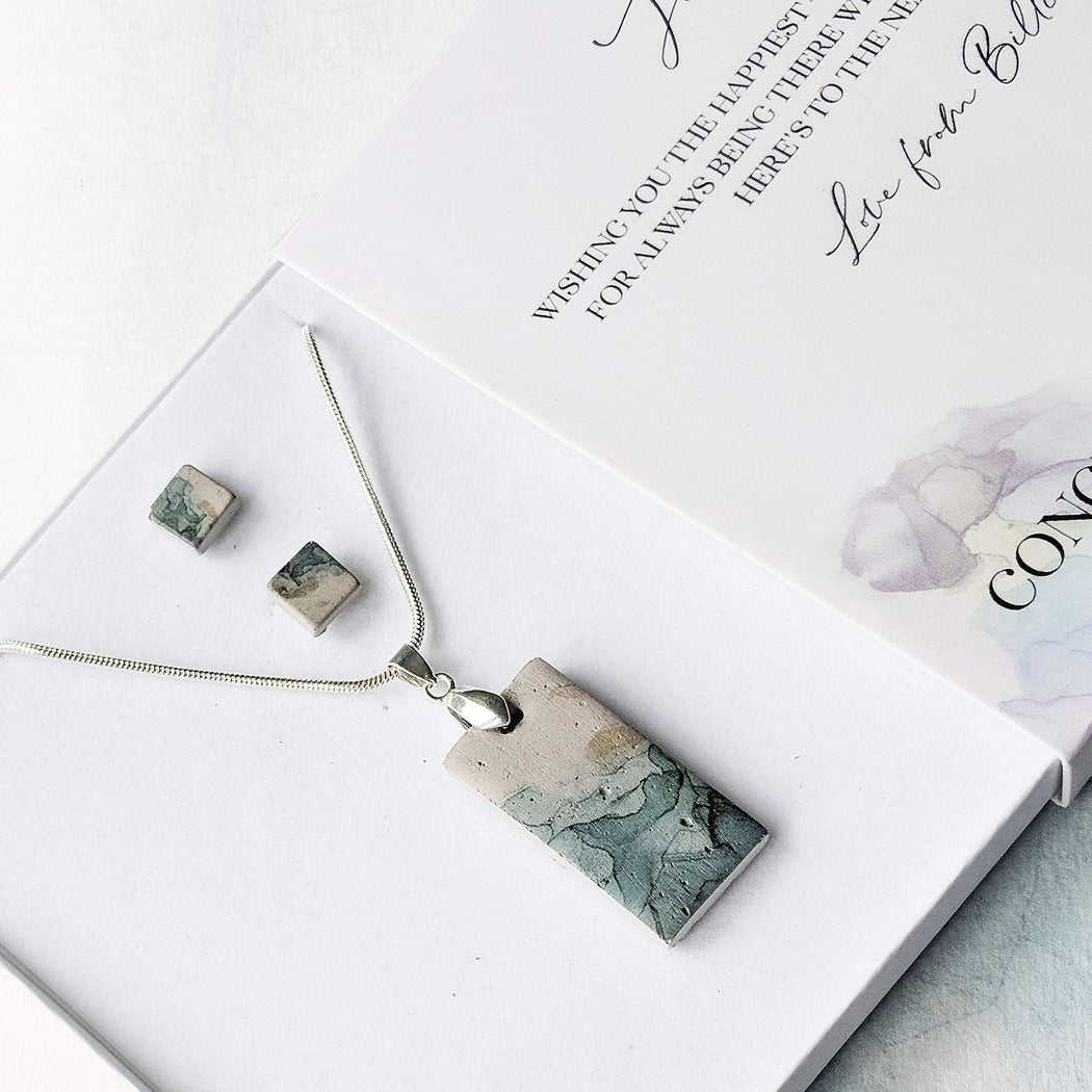 Concrete & Ink Jewellery Inkwell Greens Gift Set