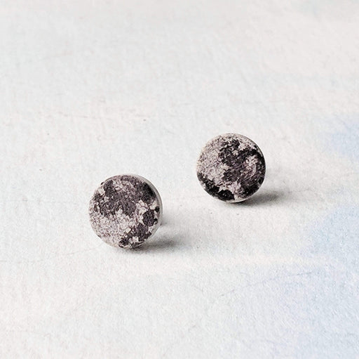 Concrete & Ink Jewellery Moon Stud Earrings