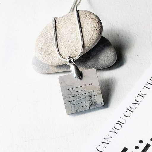Concrete & Ink Jewellery Morse Code Secret Message Inkwell Pendant Necklace