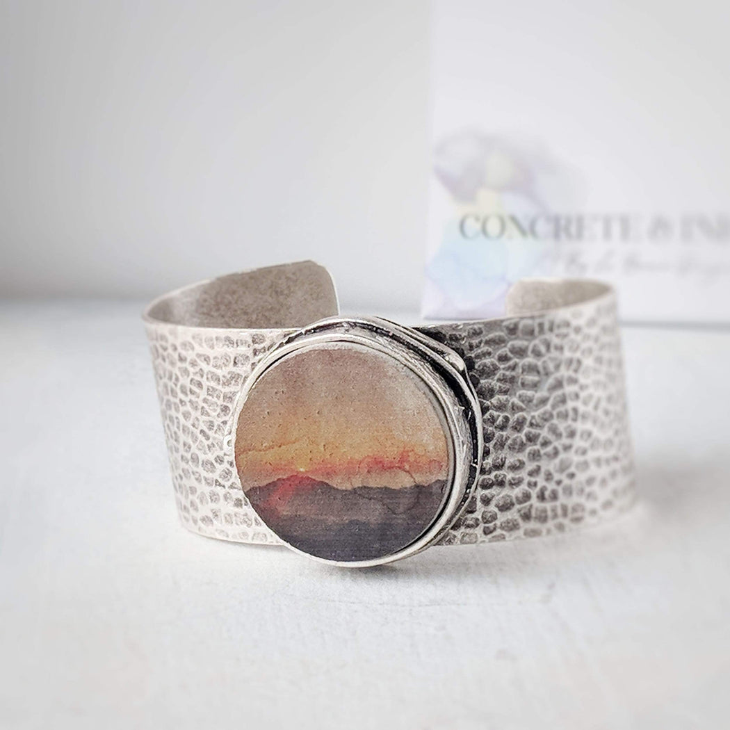 Concrete & Ink Jewellery Mountain sunset statement cuff bracelet