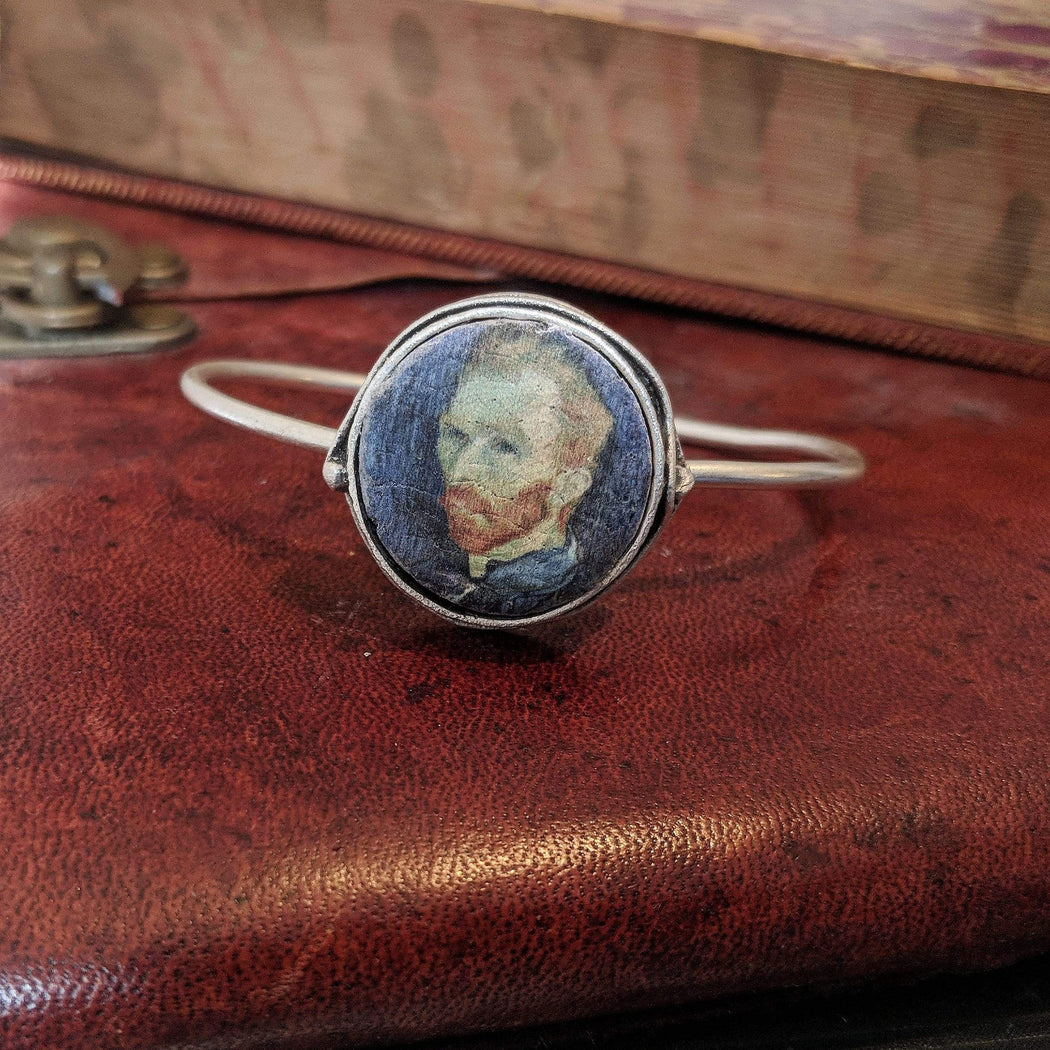 Concrete & Ink Jewellery Self Portrait 1889 by Van Gogh. Simple Cuff, Silver Finish.