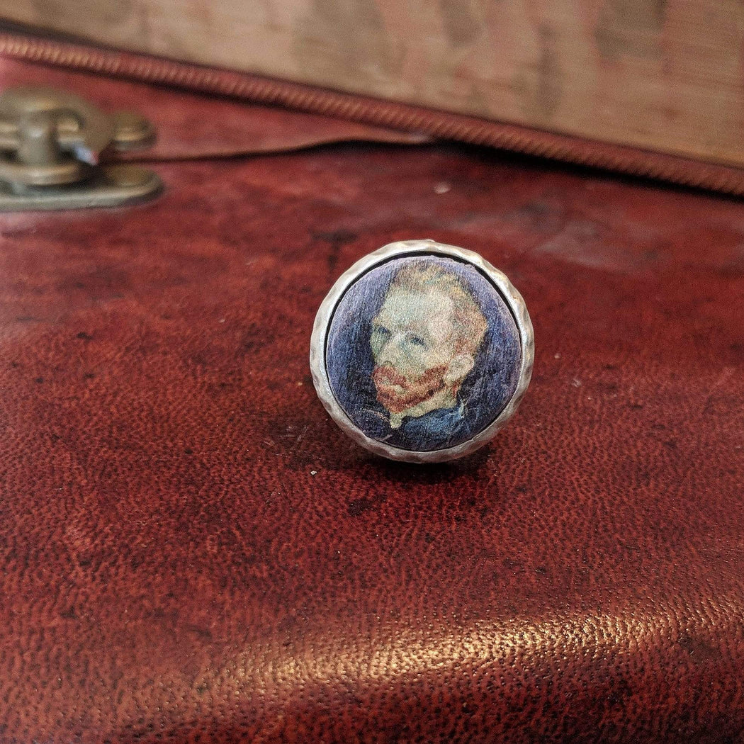 Concrete & Ink Jewellery Self Portrait 1889 by Van Gogh. Small Round Ring