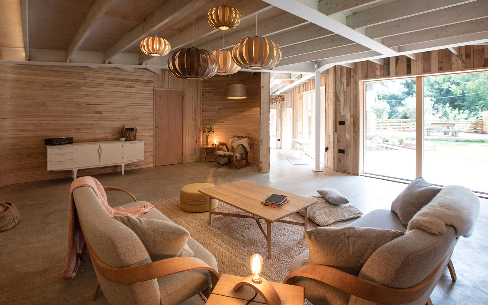 The Living Room At Tom Raffieldu0027s House, With Steam Bent Wooden Walls And  Furniture ...