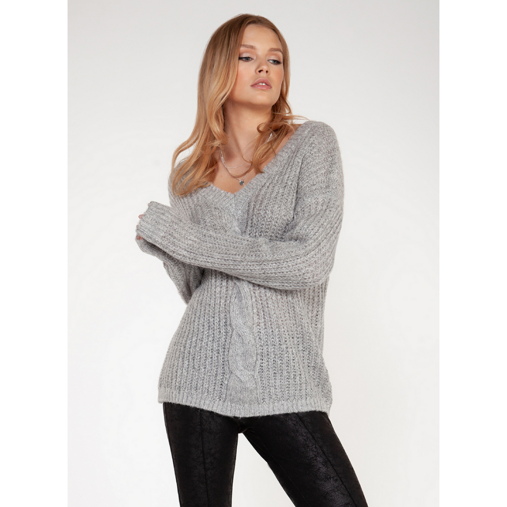 Dex Cable Knit V-Neck Sweater