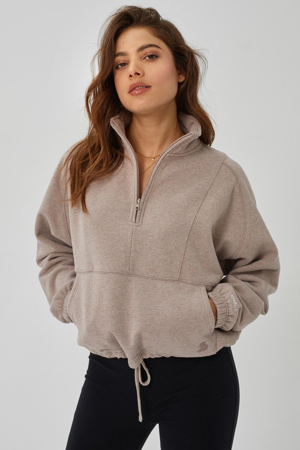 KuwallaTee Dusty Rose Oversized Half Zip