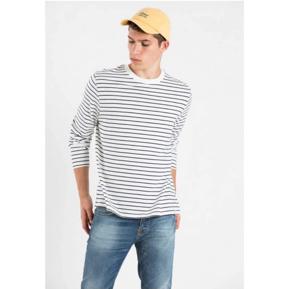 027/White Navy Stripe