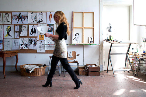 Fashion illustrator Sjoukje Bierma in her studio