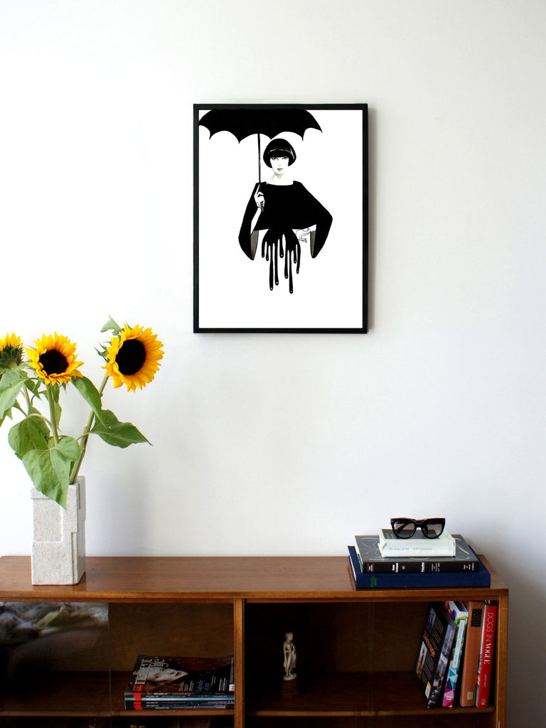 Fashion illustration print of Drip by Sjoukje Bierma - woman with umbrella - 45 x 60 cm framed