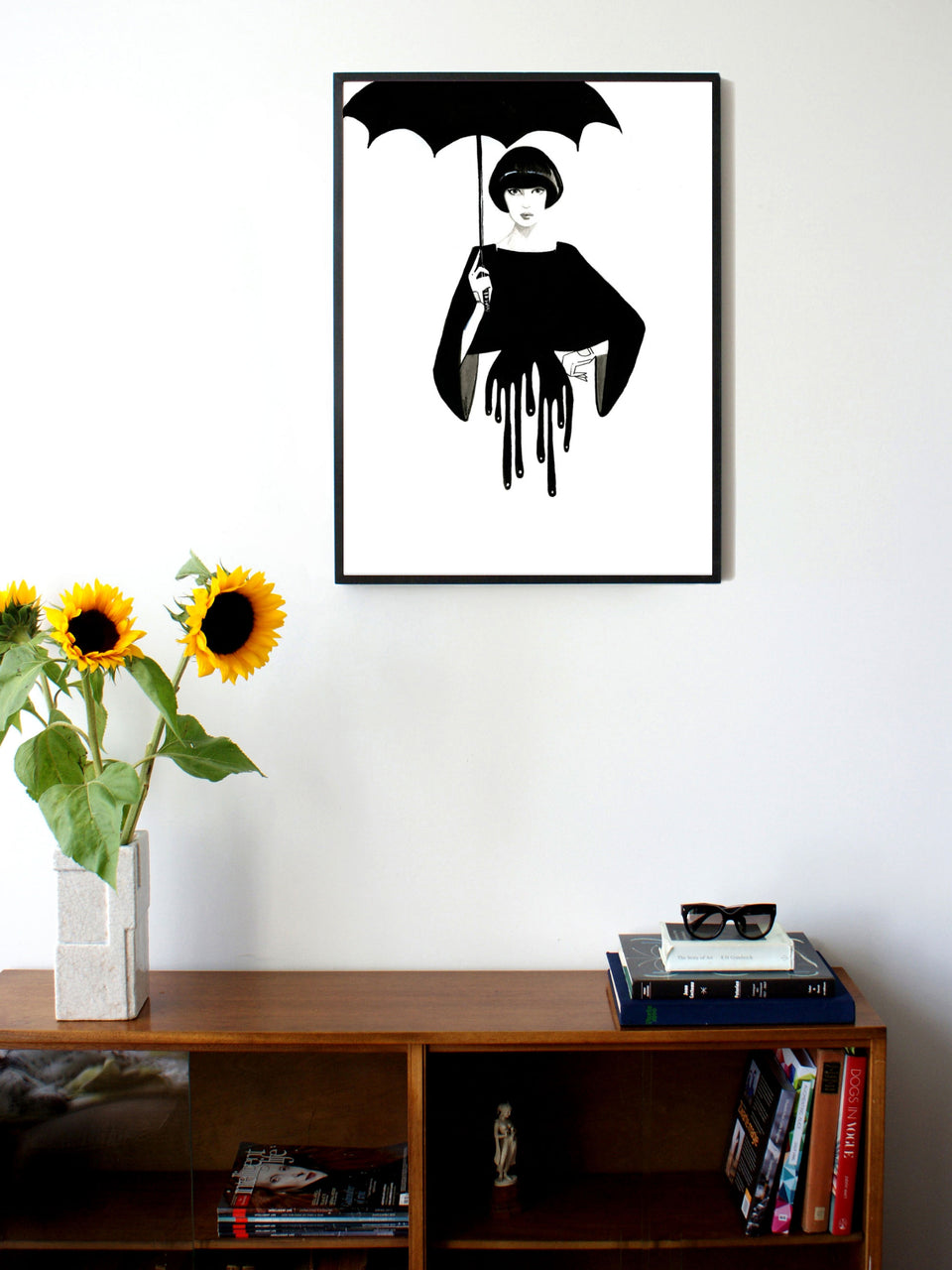 Fashion illustration print of Drip by Sjoukje Bierma - woman with umbrella - 60 x 80 cm framed