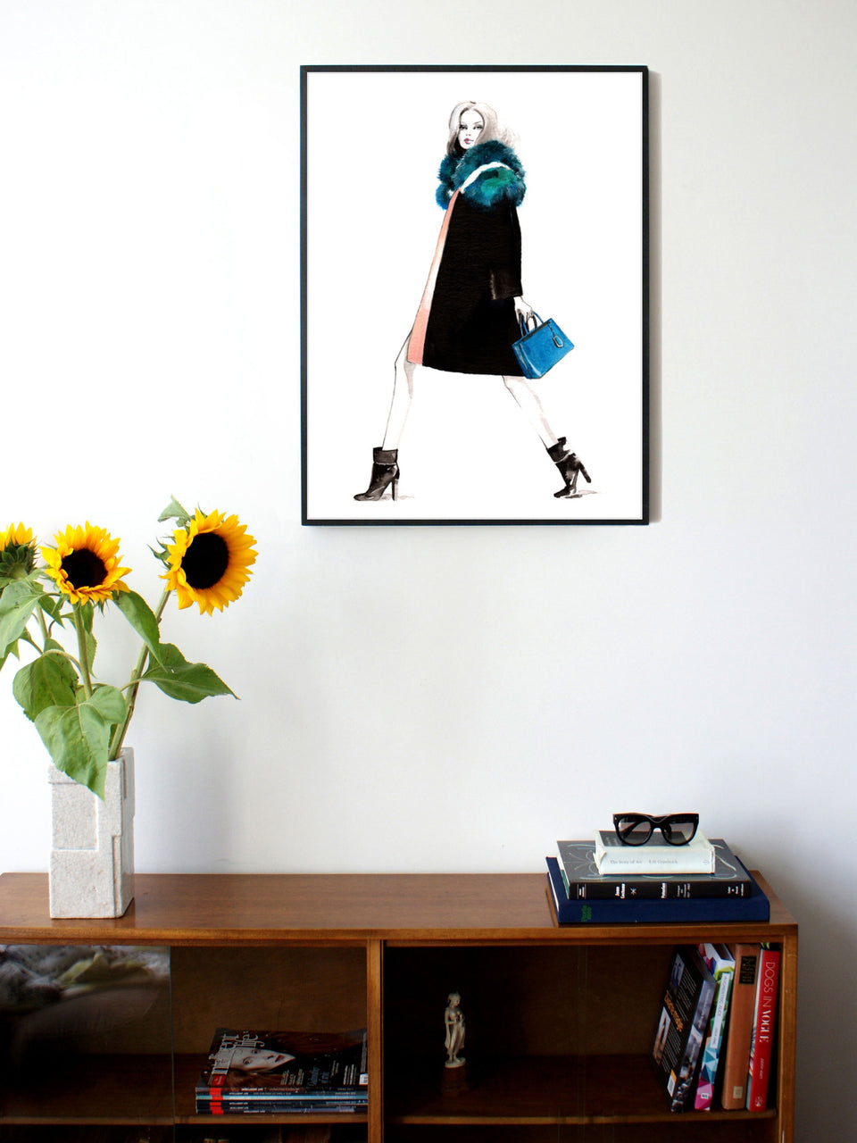 Fashion illustration print of Fendi by Sjoukje Bierma - woman walking - 60 x 80 cm framed