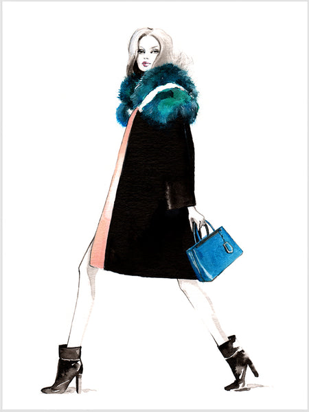 Fashion illustration print of Fendi by Sjoukje Bierma - woman walking
