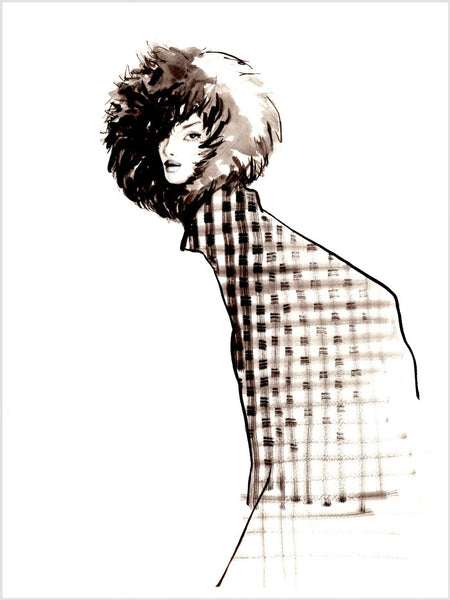 Fashion illustration print of Fur Hat by Sjoukje Bierma - woman in check coat and fur hat