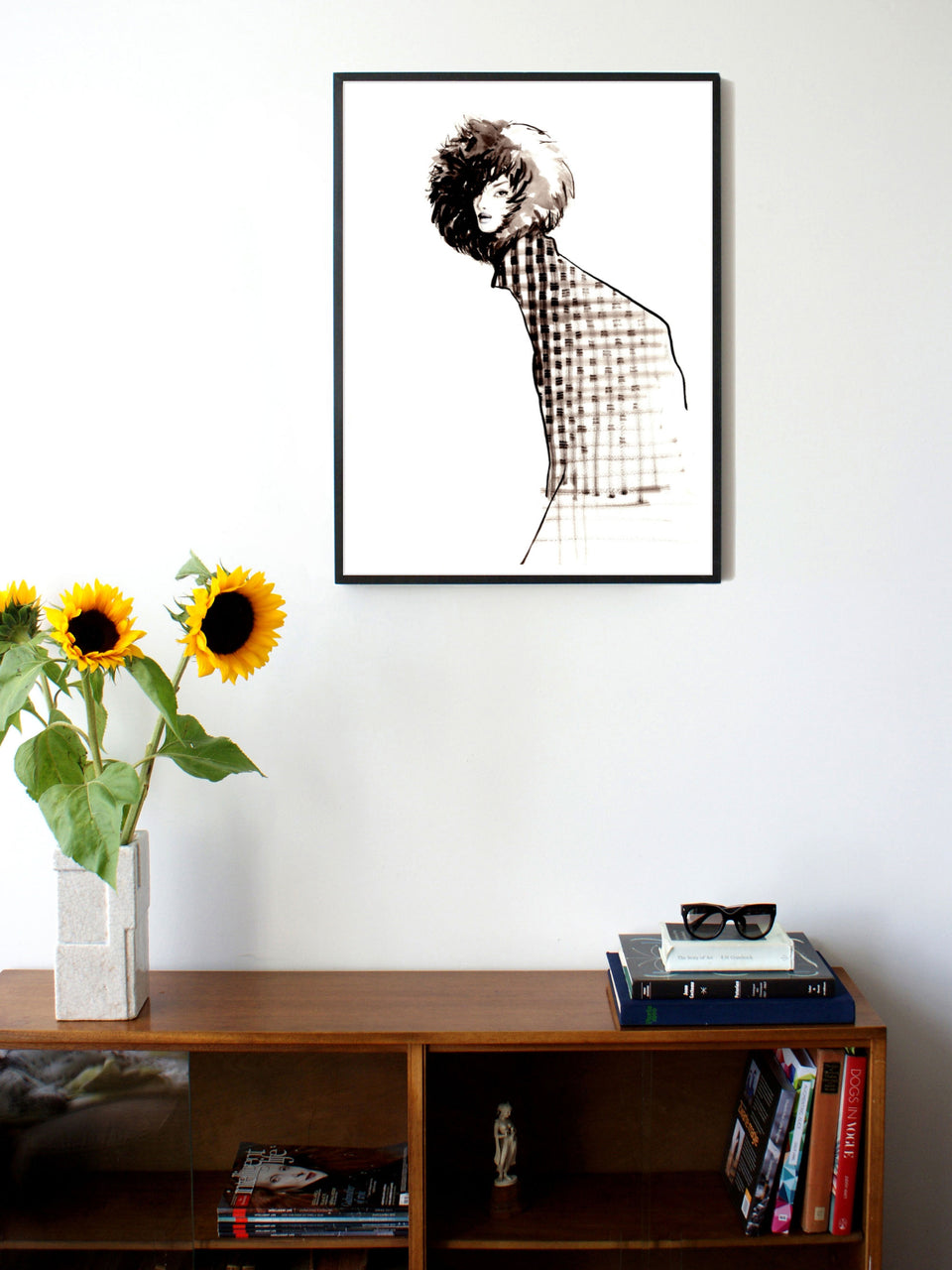 Fashion illustration print of Fur Hat by Sjoukje Bierma - woman in check coat and fur hat - 60 x 80 cm framed