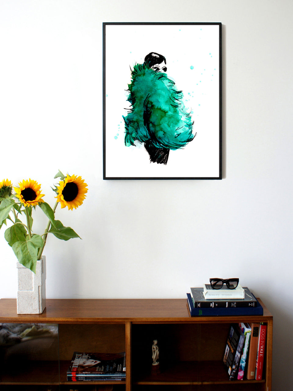 Fashion illustration print of Fur Parool by Sjoukje Bierma - woman in green fur - 60 x 80 cm framed