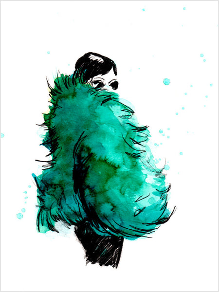 Fashion illustration print of Fur Parool by Sjoukje Bierma - woman in green fur