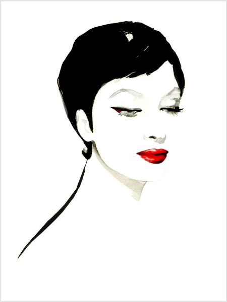 Fashion illustration print of Geisha Eyes by Sjoukje Bierma - portrait of woman