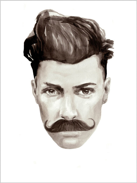 Fashion illustration print of Gentleman Portrait by Sjoukje Bierma - man with moustache and quiff