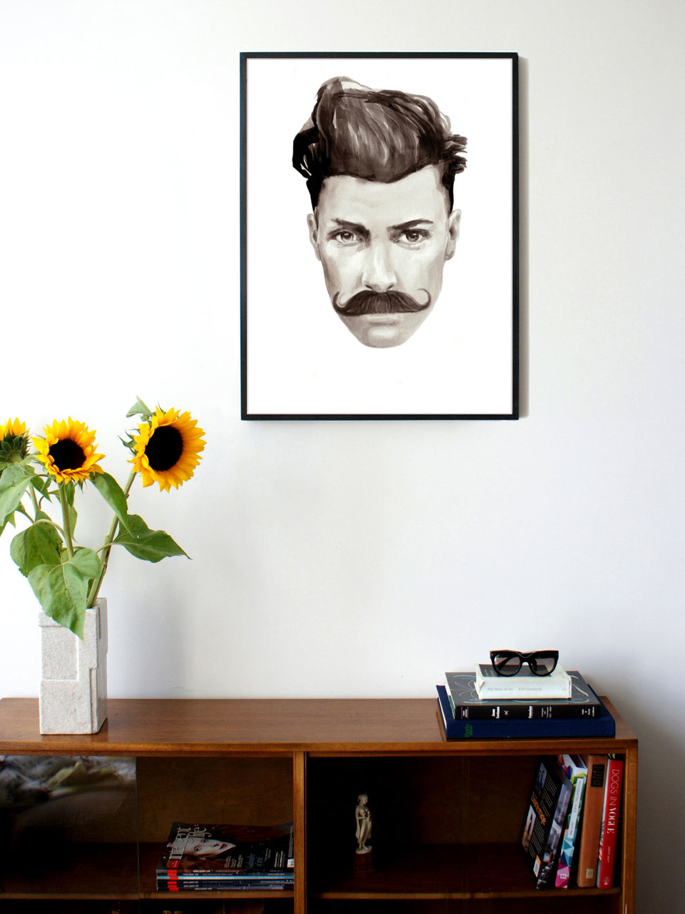 Fashion illustration print of Gentleman Portrait by Sjoukje Bierma - man with moustache and quiff - 60 x 80 cm framed
