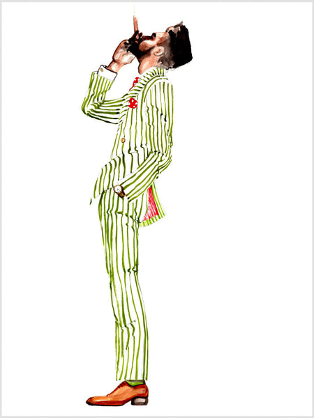 Fashion illustration print of Gentleman with Cigar by Sjoukje Bierma - man in striped suit smoking a cigar