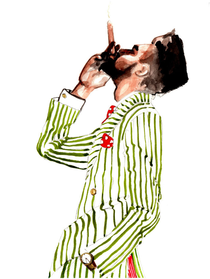Fashion illustration print of Gentleman with Cigar by Sjoukje Bierma - man in striped suit smoking a cigar - detail of head
