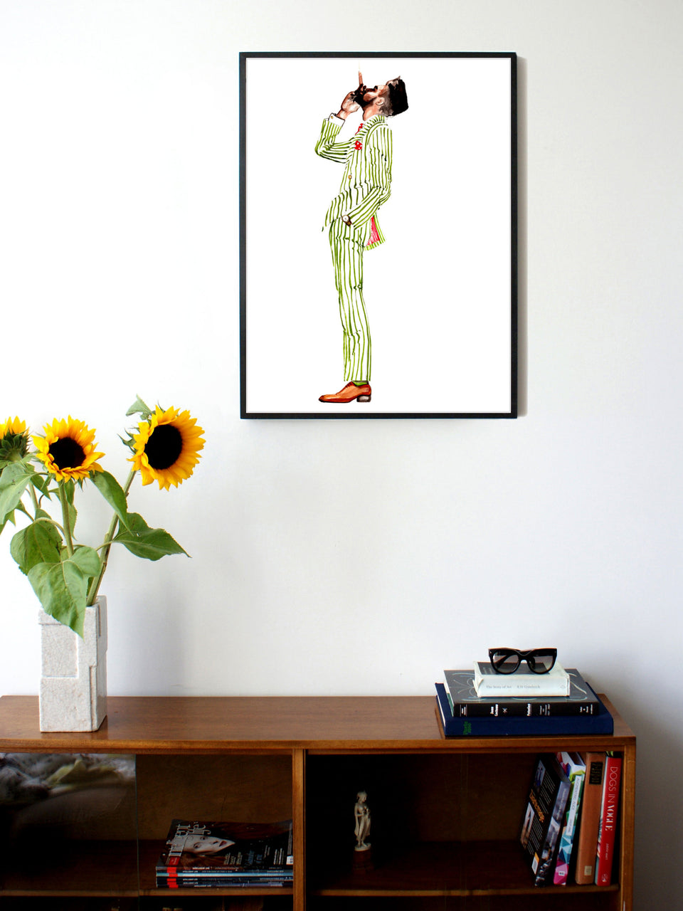 Fashion illustration print of Gentleman with Cigar by Sjoukje Bierma - man in striped suit smoking a cigar - 60 x 80 cm framed