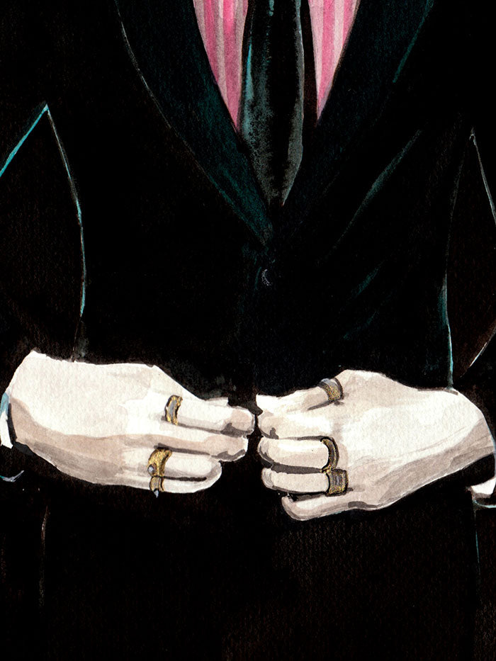 Fashion illustration print of  Gentleman with Moustache by Sjoukje Bierma - man fastening his jacket - detail of hands