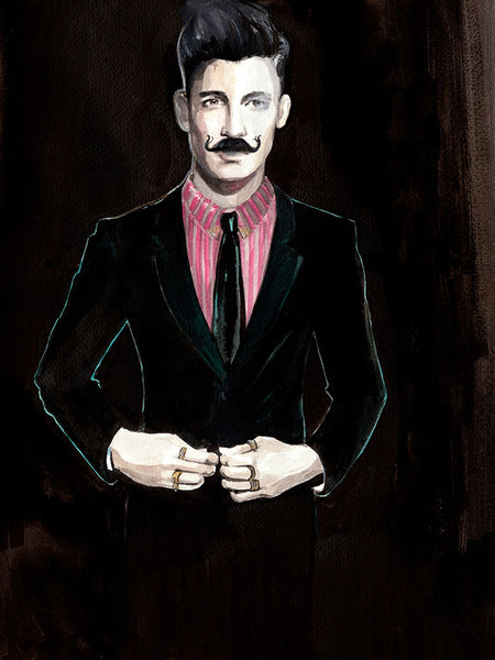 Fashion illustration print of  Gentleman with Moustache by Sjoukje Bierma - man fastening his jacket after naughtiness