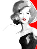 Fashion illustration print of Gucci Red by Sjoukje Bierma - woman in black dress - detail of hair and face
