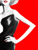 Fashion illustration print of Gucci Red by Sjoukje Bierma - woman in black dress - detail of hand on hip