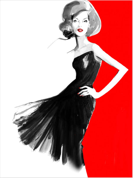 Fashion illustration print of Gucci Red by Sjoukje Bierma - woman in black dress