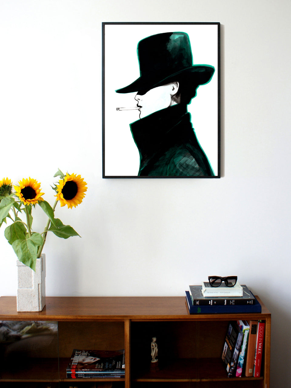 Fashion illustration print of Hat by Sjoukje Bierma - woman in hat smoking a cigarette - 60 x 80 cm framed