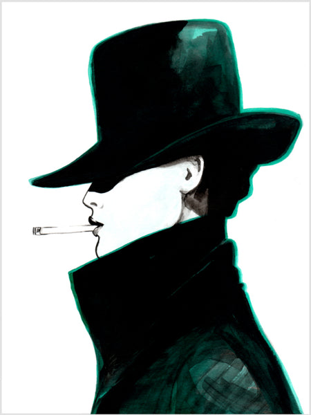Fashion illustration print of Hat by Sjoukje Bierma - woman in hat smoking a cigarette