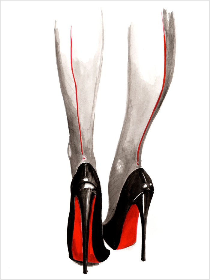 Fashion illustration print of Heels by Sjoukje Bierma - woman in Louboutin stilettos and seamed stockings