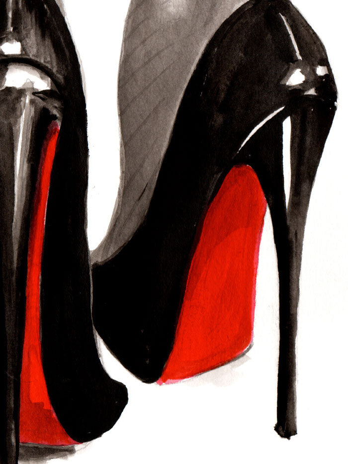Fashion illustration print of Heels by Sjoukje Bierma - woman in Louboutin stilettos and seamed stockings - detail of soles