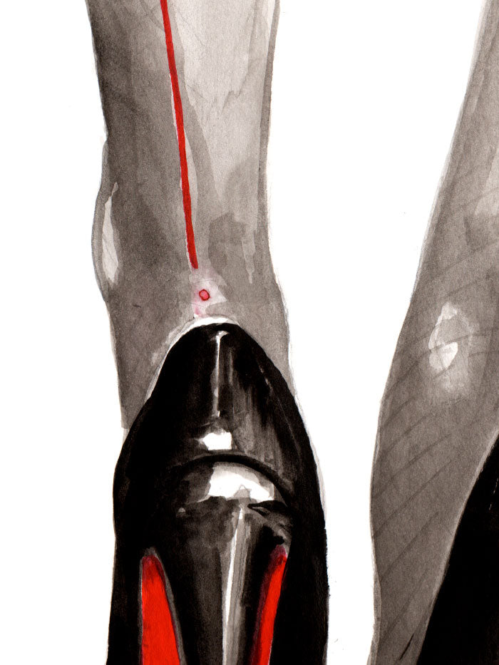 Fashion illustration print of Heels by Sjoukje Bierma - woman in Louboutin stilettos and seamed stockings - detail of heel