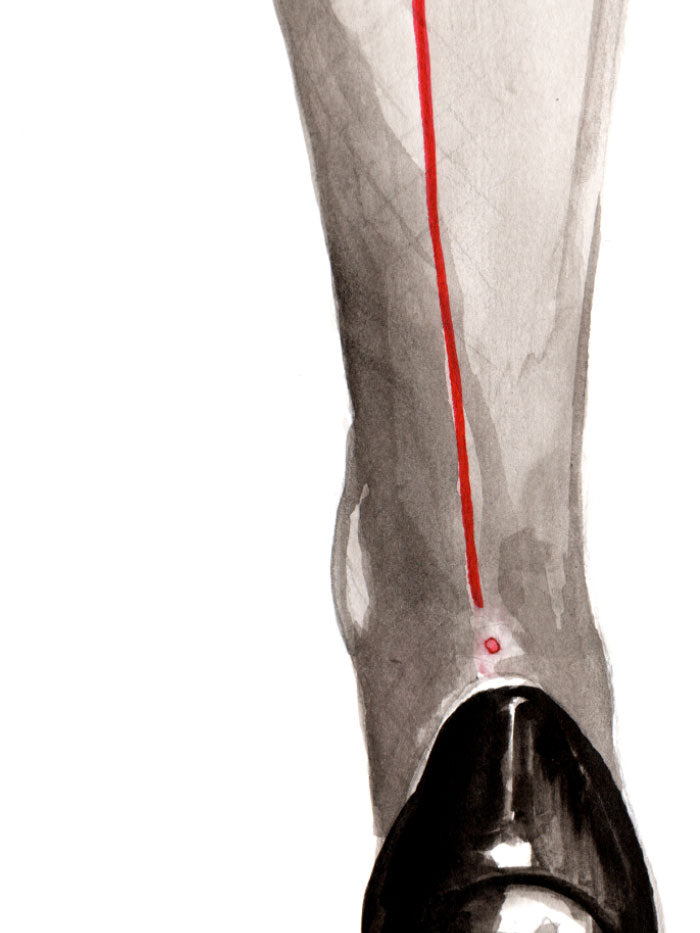 Fashion illustration print of Heels by Sjoukje Bierma - woman in Louboutin stilettos and seamed stockings - detail of stocking seam
