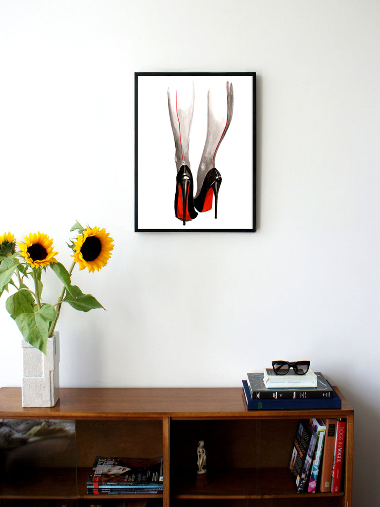 Fashion illustration print of Heels by Sjoukje Bierma - woman in Louboutin stilettos and seamed stockings - 45 x 60 cm framed